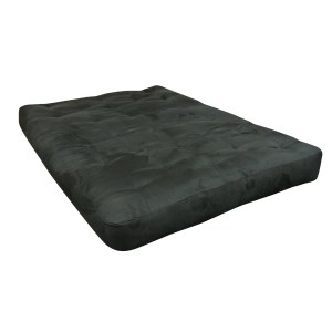 "8"" Wool Wrap 21X39 Twin Loveseat Ottoman Black Microfiber Futon Mattress"