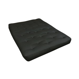 "8"" Wool Wrap Full Black Duct Futon Mattress"
