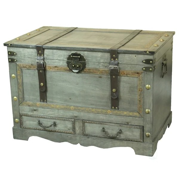 rustic handcrafted wooden storage trunk