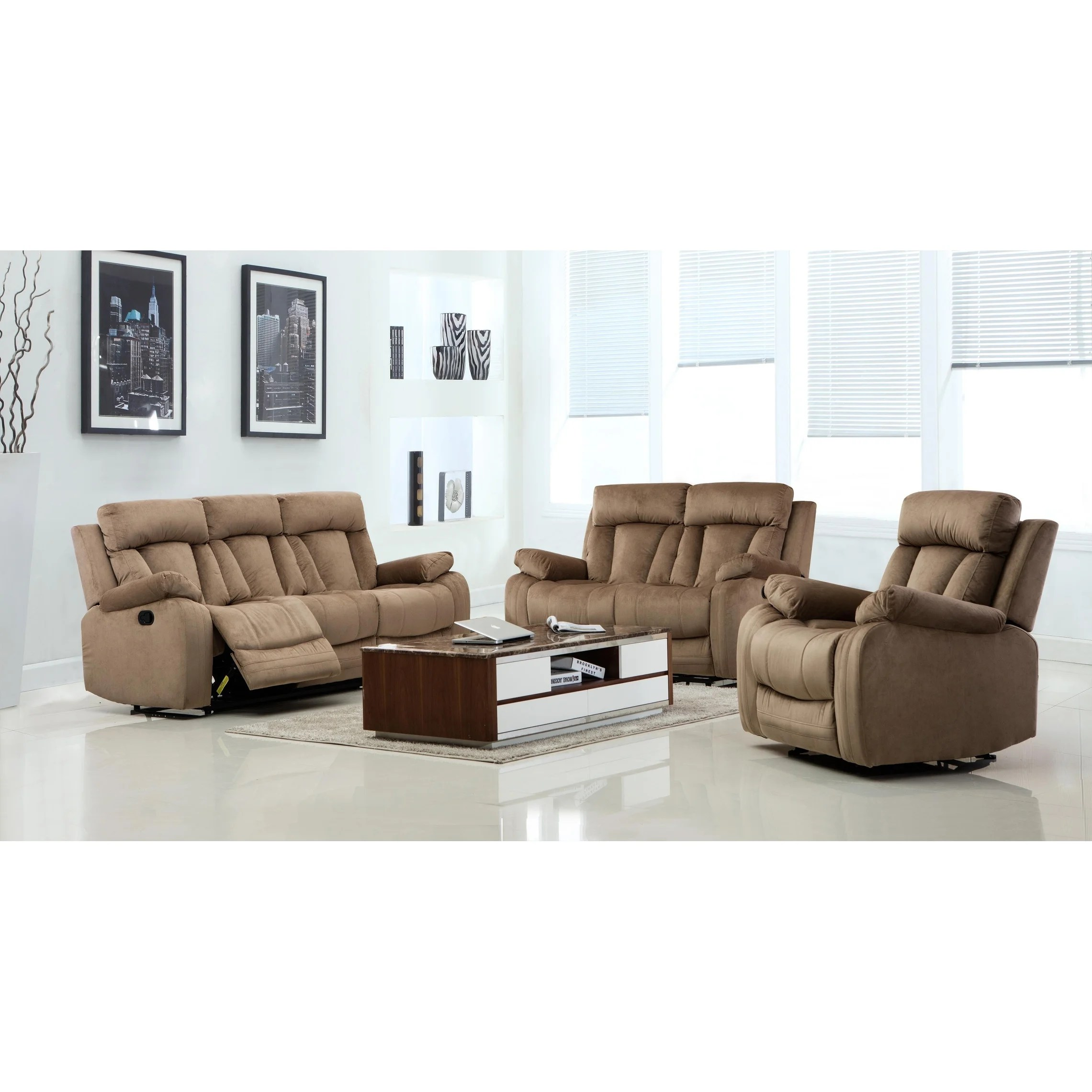 Gu Industries Microfiber Fabric Upholstered 3 Piece Living Room Recliner Sets
