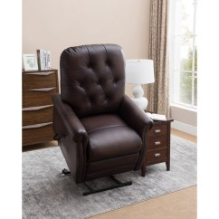 Lift Recliner Chairs For Sale Upholstered Arm Shop Salem Brown Tufted Premium Top Grain Leather Power Chair