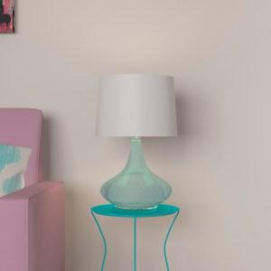 Porch & Den Burton Light Blue Glass Fabric Shade Table Lamp