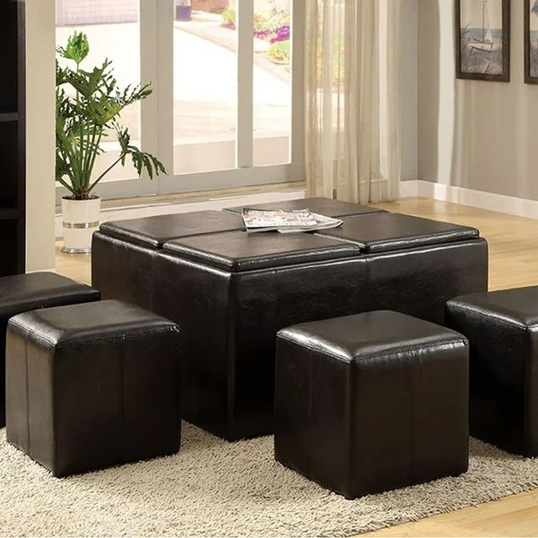 holloway contemporary nested ottoman with 4 small cubes trays