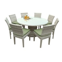Catamaran Outdoor Patio Wicker Dining Table And 8