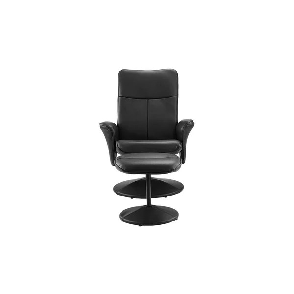 leather swivel recliner chair and stool gothic revival chairs shop faux office living room gaming footstool