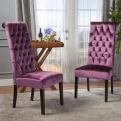 Purple Dining Chairs Canada Teal Arm Chair Shop Leorah Tall Back Tufted Velvet Set Of 2 By Christopher Knight Home