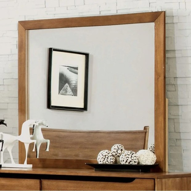 Lennart Mid-Cent Modern Mirror, Oak Finish