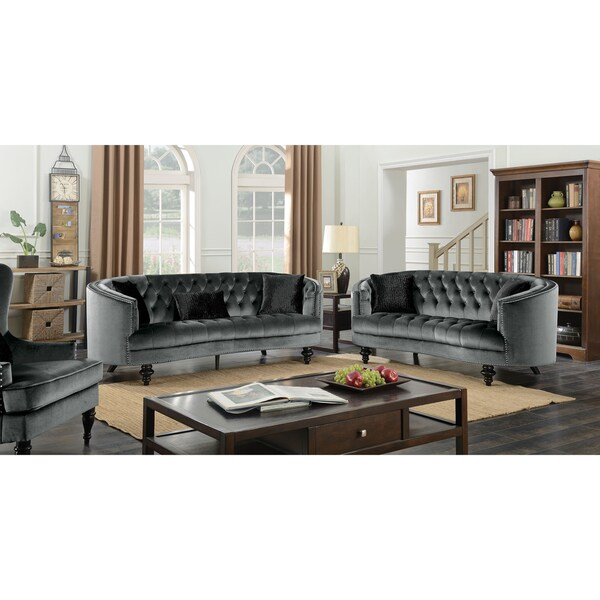 glam sofa set cheap leather sofas london shop furniture of america sevi 3 piece tufted flannelette