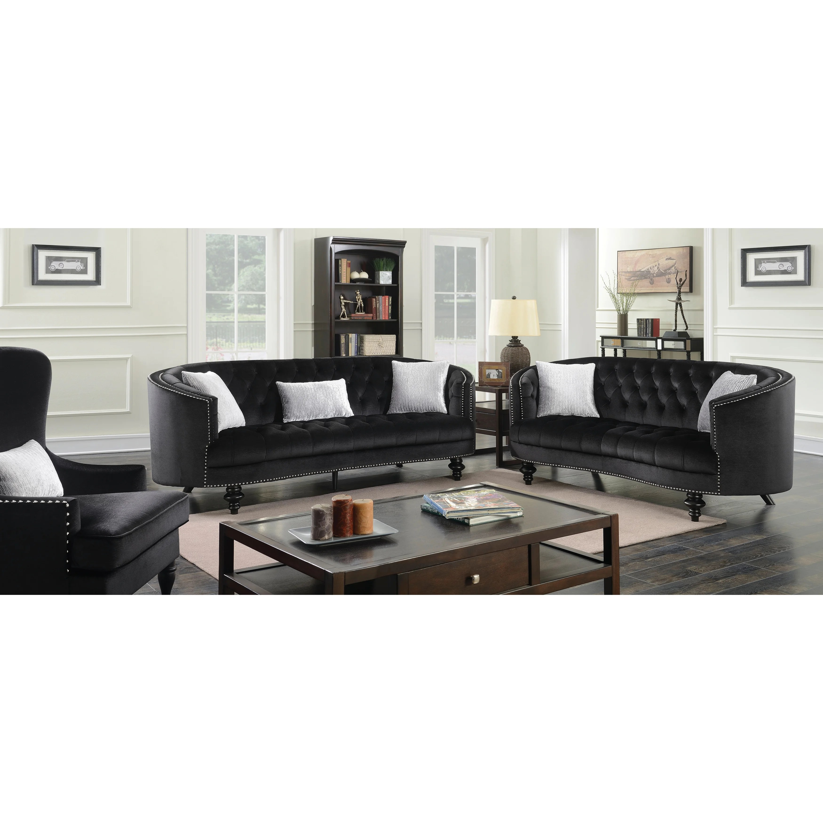 glam sofa set dog ramp furniture of america sevi 2 piece tufted flannelette
