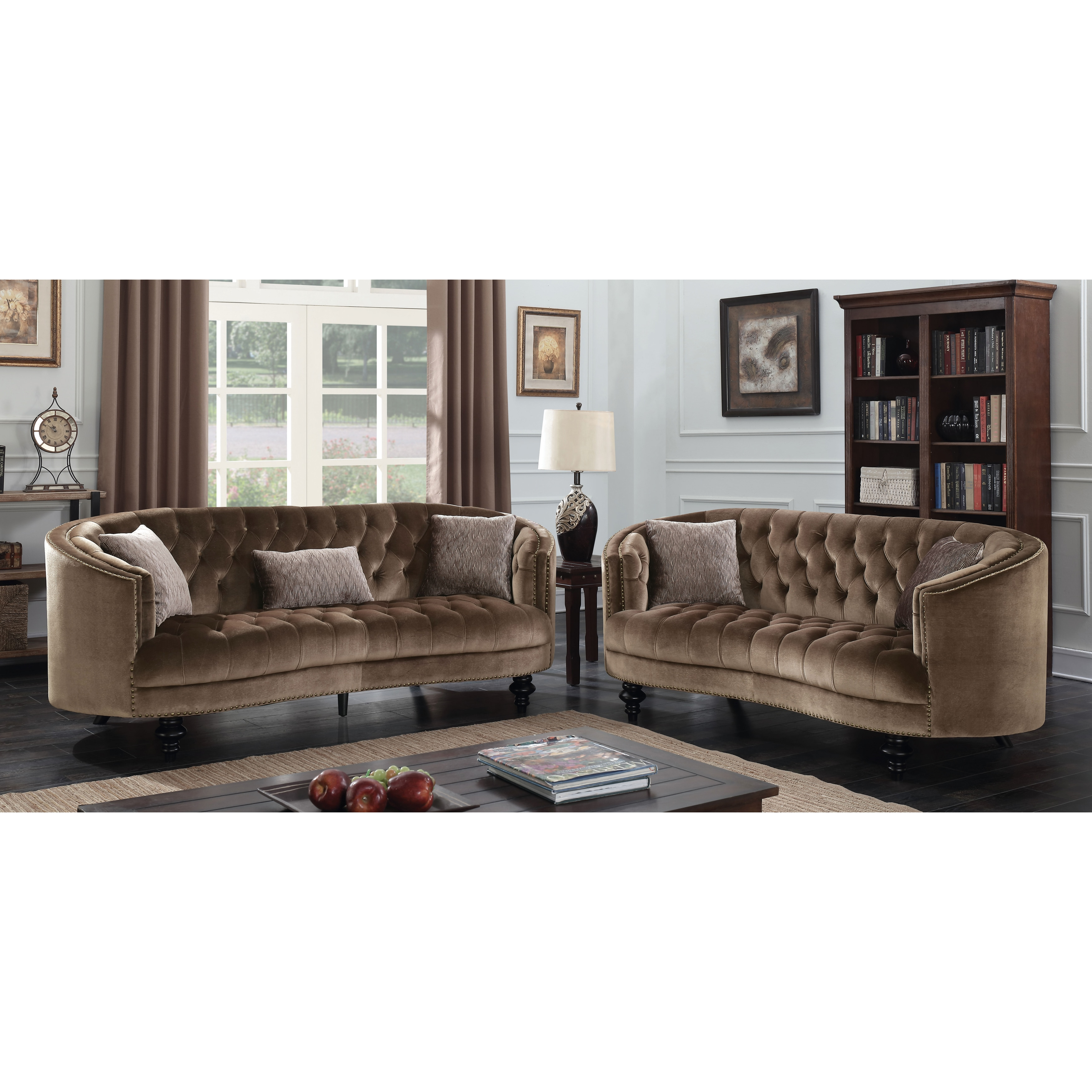 glam sofa set how can i recycle my furniture of america sevi 2 piece tufted flannelette