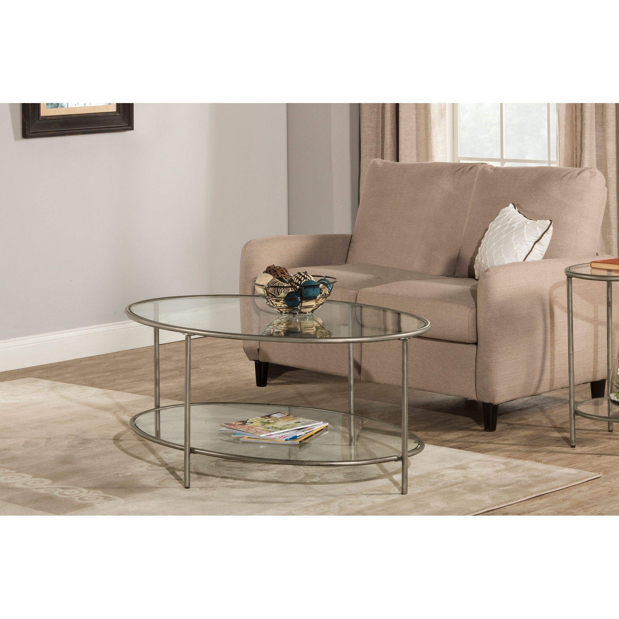 hillsdale furniture corbin coffee table with two glass shelves silver