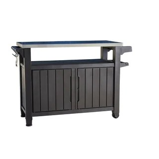 stainless steel kitchen cart roman shades for buy carts online at overstock com our best keter unity xl indoor outdoor serving prep station with storage