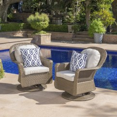 Patio Club Chair Furry Bean Bag Chairs Canada Shop Liam Outdoor Wicker Swivel With Cushion Set Of 2 By Christopher Knight