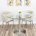 Mix Tempered Glass 40 Inch Diameter Dining Table With Brushed Stainless Steel Base Overstock 17925672