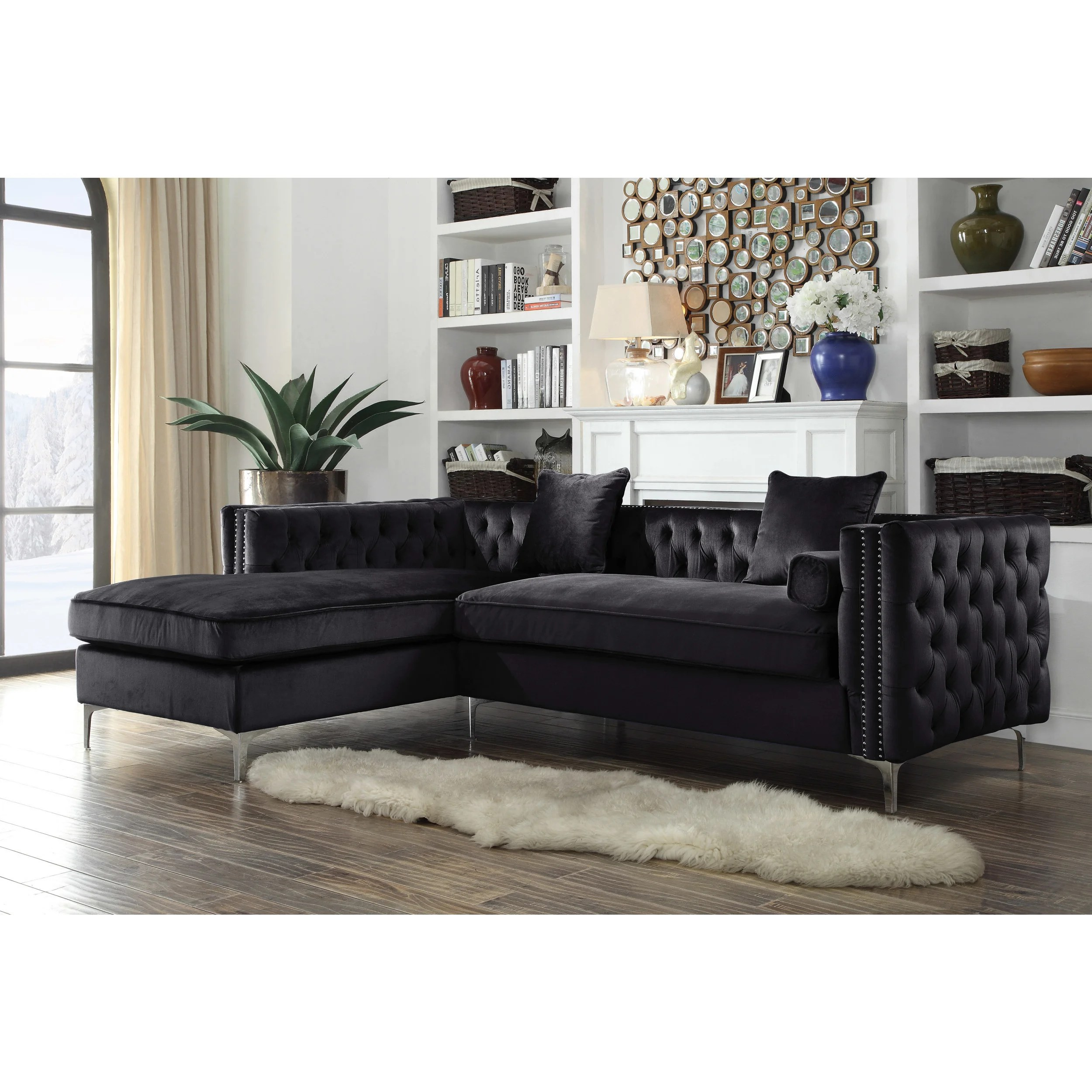 acme sectional sofa chocolate small pink sleeper buy velvet sofas online at overstock.com | our ...
