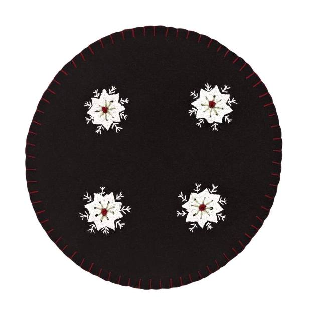 Christmas Snowflake Felt Embroidered Tablemat Set of 6