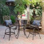 Alfresco Outdoor 3 Piece Round Aluminum Bar Set With Umbrella Hole By Christopher Knight Home Overstock 17939785