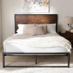 Industrial Black Metal And Brown Wood Platform Bed By Baxton Studio Overstock 17963481