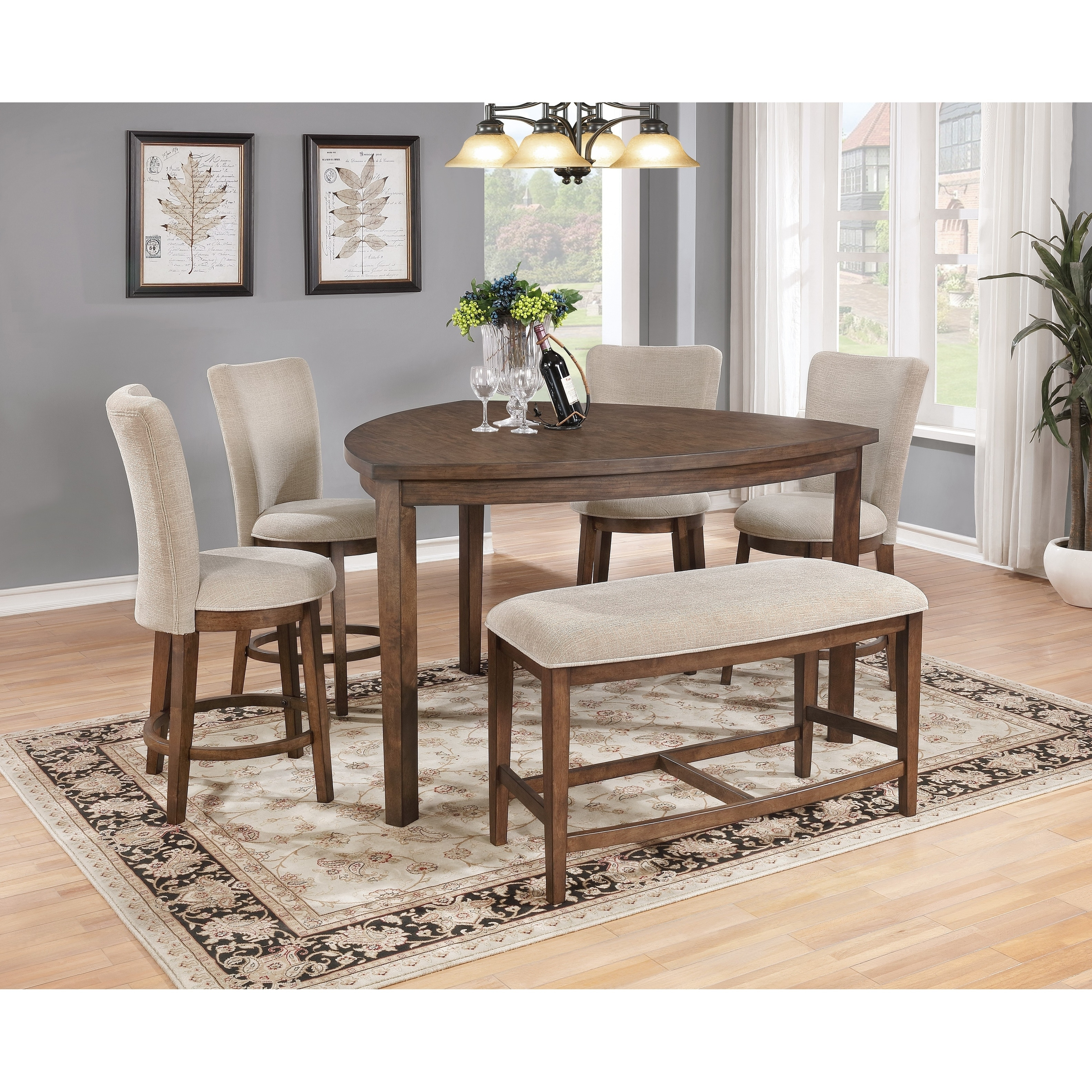 Best Quality Furniture 6 Piece Pecan Counter Height Dining Table Set With Bench Overstock 17965280