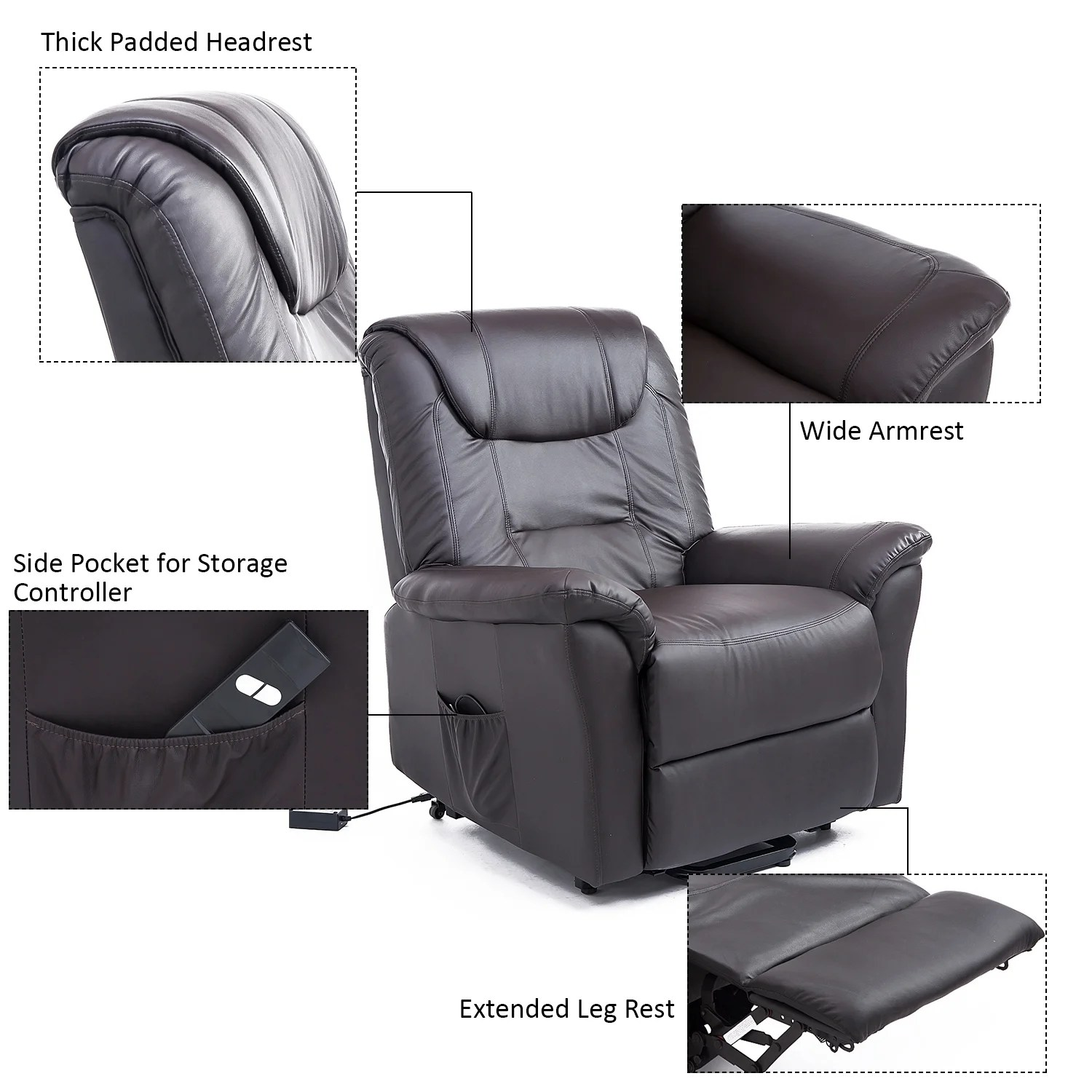 infinite position recliner power lift chair outdoor covers brisbane homcom 42 inch electric