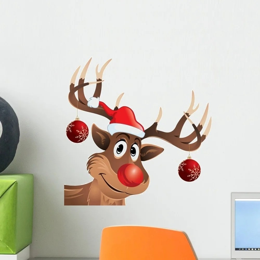 Rudolph the Reindeer Red Nose with Hat and Christmas Balls Peel and Stick Wall Decals Wall Vinyl