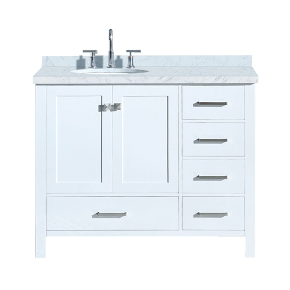 Shop Ariel Cambridge 43 Left Offset Single Oval Sink Vanity Set In White Overstock 18000096
