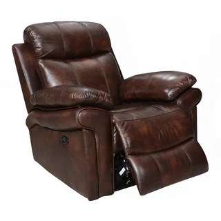 leather recliner chairs chair covers quality shop hudson top grain power brown blue red free shipping today overstock com 18008104