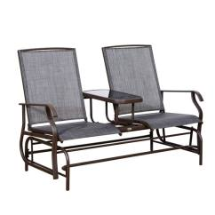 Outdoor Chair Fabric Clear Perspex Dining Chairs Shop Outsunny Two Person Mesh Patio Double Glider With Center Table
