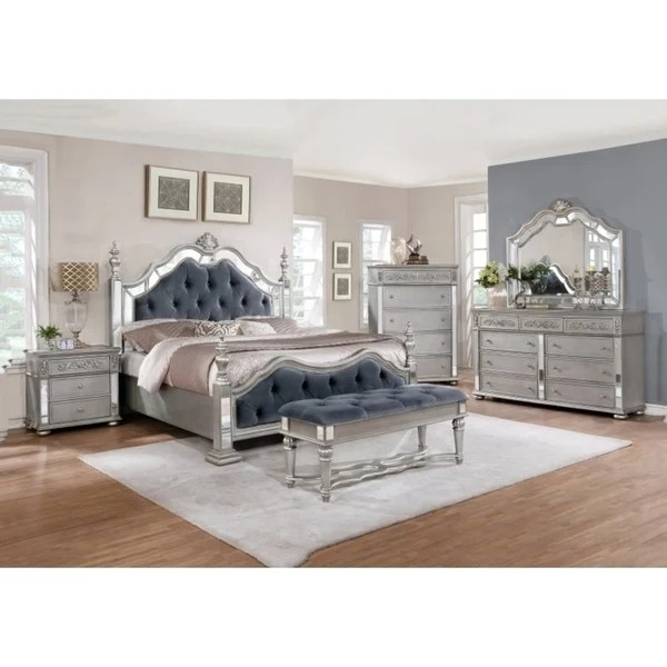 best quality furniture glam grey 4-piece bedroom set - free