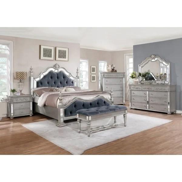 best quality furniture glam grey 4-piece bedroom set - free