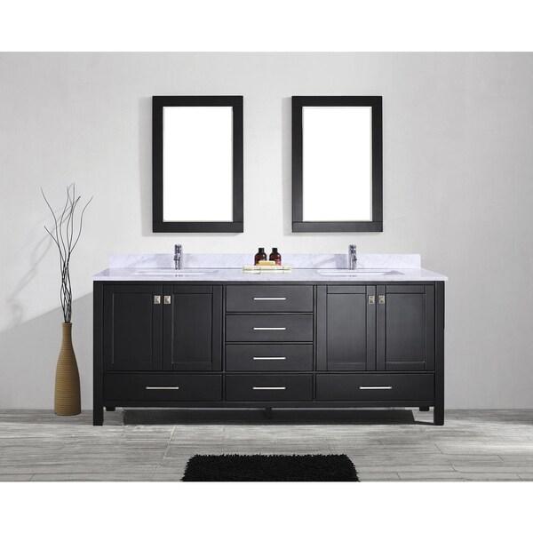 eviva aberdeen 84 espresso transitional double sink bathroom vanity w white carrara top