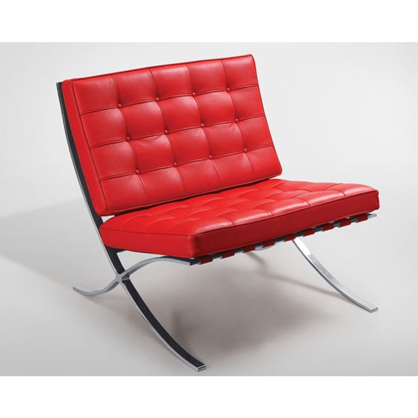 red lounge chair outdoor covers argos shop chanel barcelona leather stainless steel free shipping today overstock com 18039549