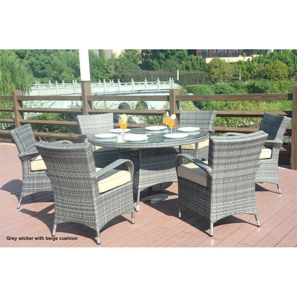 round outdoor wicker patio furniture set Shop Turin Round Outdoor 7 Piece Patio Wicker Dining Set with Eton Chairs by Direct Wicker