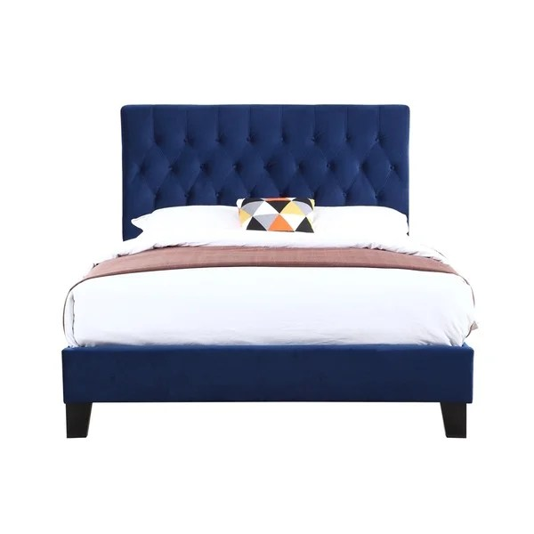 Awesome Fabric Bed Frame Cadot Zafia Midnight Blue Fabric Bed Frame Theyellowbook Wood Chair Design Ideas Theyellowbookinfo