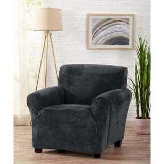 gray chair slipcover wooden stackable church chairs buy grey covers slipcovers online at overstock com our great bay home velvet plush form fit