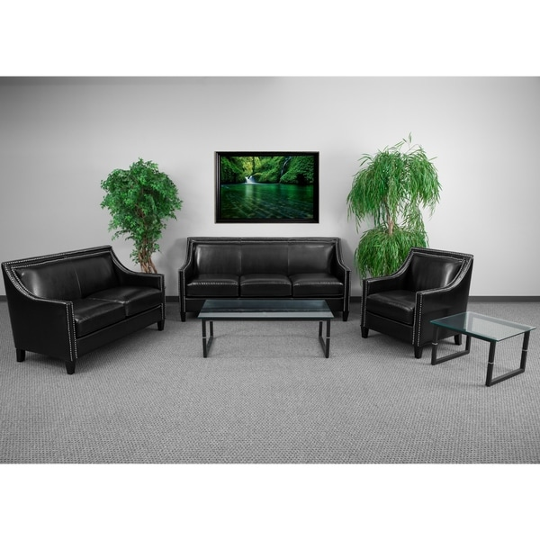 3 piece black leather living room set decoration pieces for shop madison modern with nailhead trim