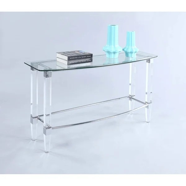 how to make a sofa table top stealasofa 1 shop somette giselle metal with glass free shipping today overstock com 18058426
