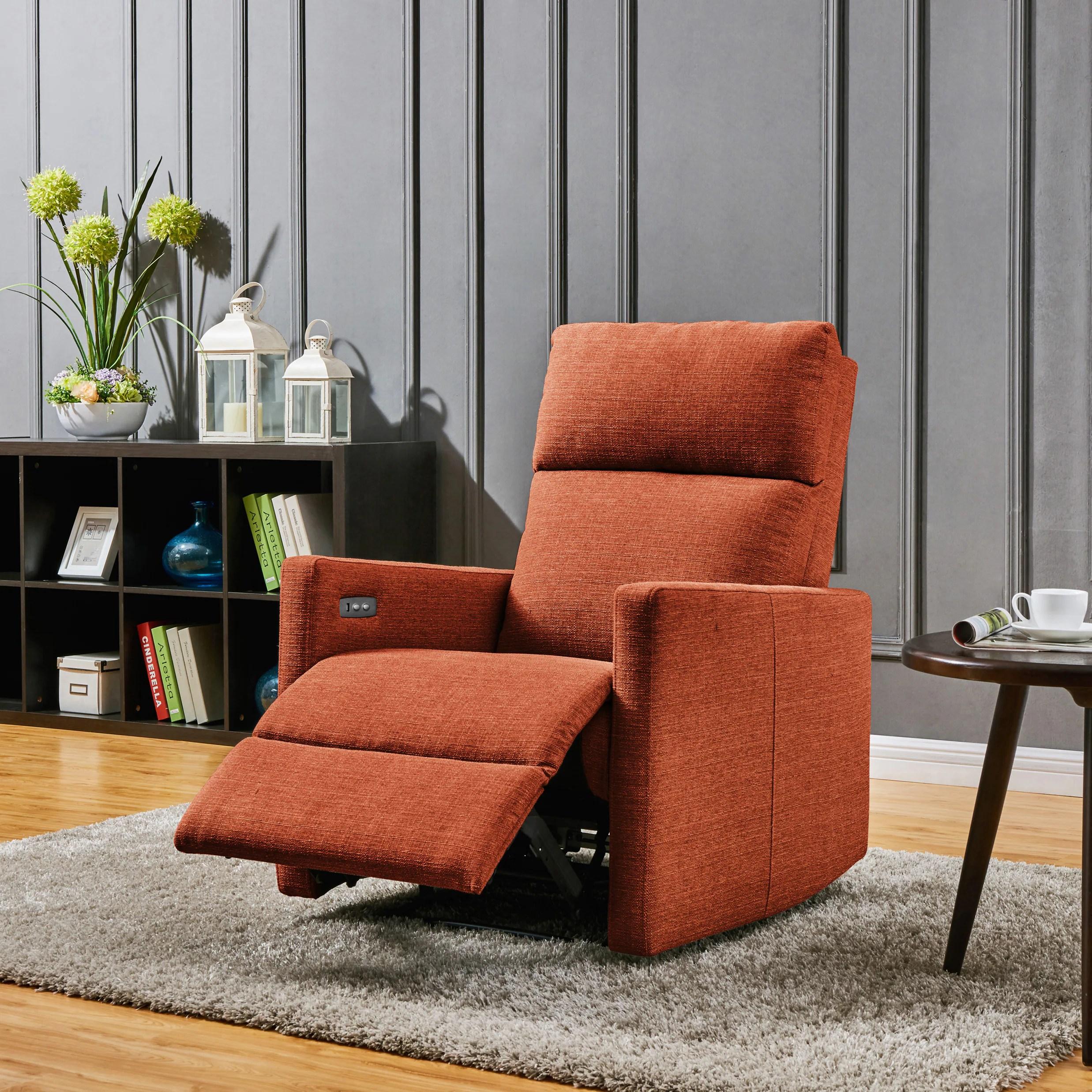 wall hugger recliner chair swivel uk ebay shop prolounger orange power with usb port
