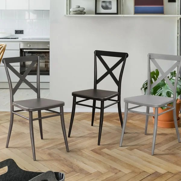 modern steel chair design resin stackable chairs shop furniture of america pia side set 2