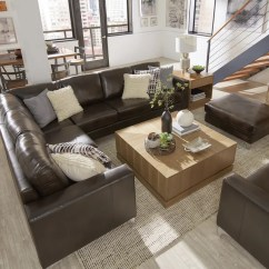 Pictures Of Living Rooms With Brown Sectionals Decorating Ideas Room Blue Carpet Shop Bastian Aniline Leather Dark L Shaped By Inspire Q Modern