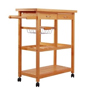 rolling kitchen cabinet art for the shop costway wood trolley cart island shelf w homcom 32 inch wooden organizer with 3 bottle wine rack