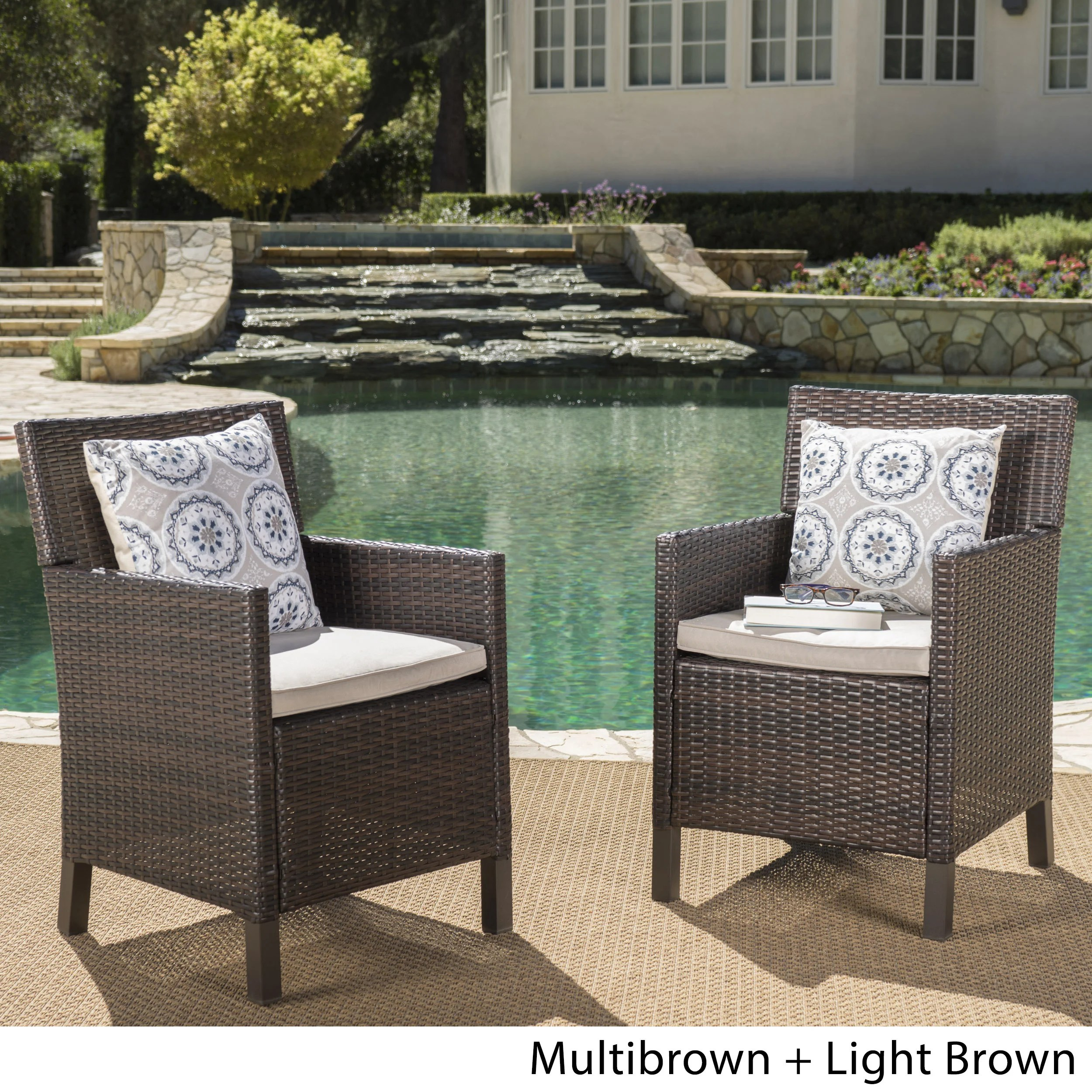 Outdoor Wicker Dining Chairs Details About Cypress Outdoor Wicker Dining Chairs With Cushions Set Of 2 By Christopher