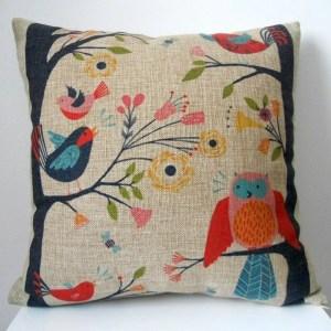 Vintage Home Decor Cotton Linen Throw Pillow Cover  Flower Birds - Blue/Red/Natural