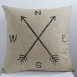 Vintage Home Decor Cotton Linen Throw Pillow Cover  Crossed Arrow Compass - Black/Natural