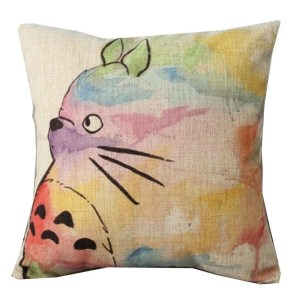 Vintage Home Decor Cotton Linen Throw Pillow Cover  Animal Painting - Yellow/Purple/Natural