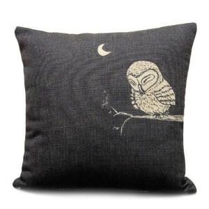 Vintage Home Decor Cotton Linen Throw Pillow Cover Animal Owl - Black/Tan