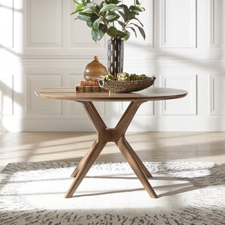 round kitchen table for 6 island home depot buy dining room tables online at overstock com nadine mid century walnut finish by inspire q modern