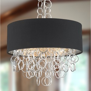 """Continuum Collection 5 Light Matte Nickel Finish with Black Linen Drum Shade Pendant D20"""" H37"""" - Silver"""