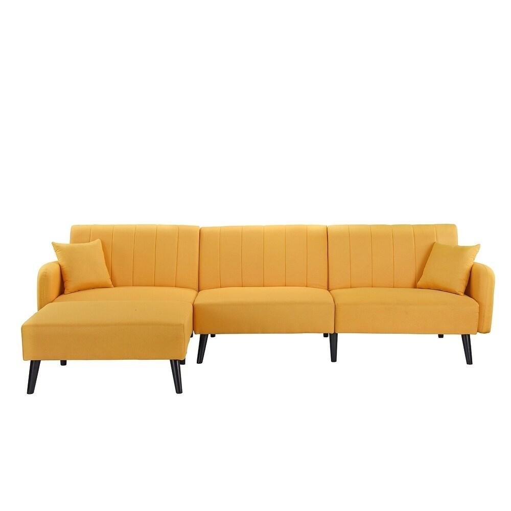 vegas futon sectional sofa bed queen sleeper with storage microfiber fabric yellow nÃo somos a rostinhos bonitos e ...