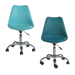 Aqua Desk Chair Office Good For Back Shop Mid Century Modern Teal Leather Task